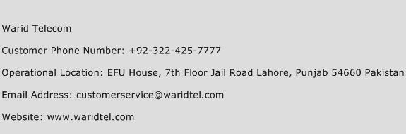 Warid Telecom Phone Number Customer Service