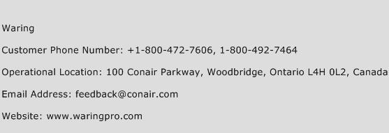 Waring Phone Number Customer Service