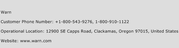 Warn Phone Number Customer Service