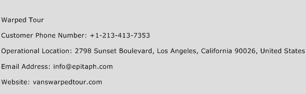 Warped Tour Phone Number Customer Service