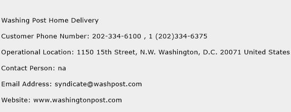 Washing Post Home Delivery Phone Number Customer Service