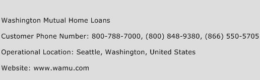 Washington Mutual Home Loans Phone Number Customer Service