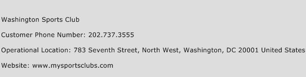 Washington Sports Club Phone Number Customer Service