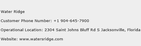 Water Ridge Phone Number Customer Service