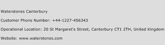 Waterstones Canterbury Phone Number Customer Service