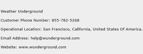 Weather Underground Phone Number Customer Service