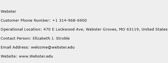 Webster Phone Number Customer Service