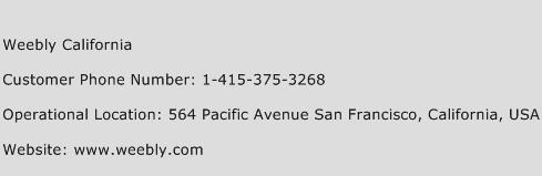 Weebly California Phone Number Customer Service