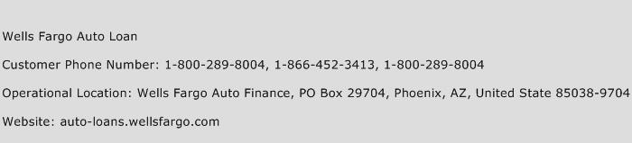 Wells Fargo Auto Loan Phone Number Customer Service