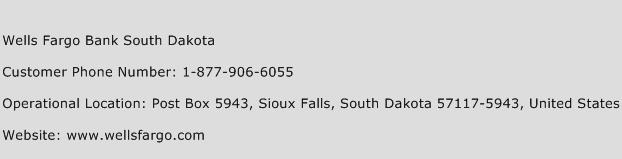 Wells Fargo Bank South Dakota Phone Number Customer Service