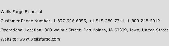 Wells Fargo Financial Phone Number Customer Service