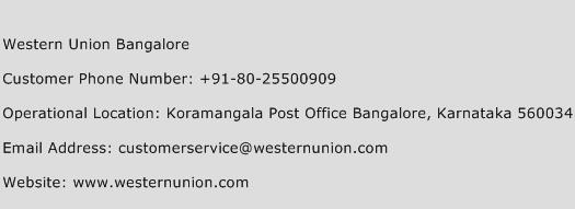 Western Union Bangalore Phone Number Customer Service
