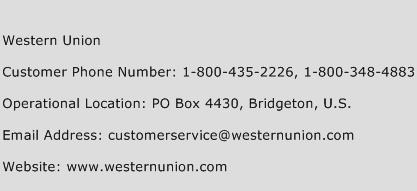 Western Union Phone Number Customer Service