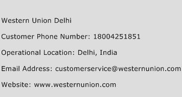 Western Union Delhi Phone Number Customer Service