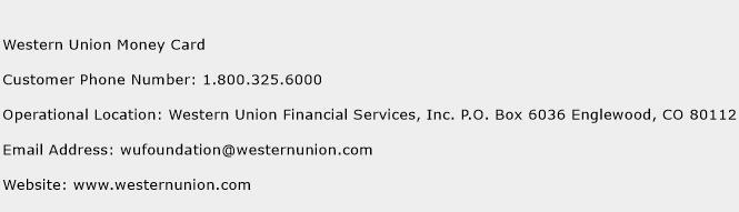 Western Union Money Card Phone Number Customer Service