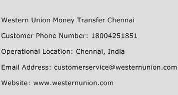 Western Union Money Transfer Chennai Phone Number Customer Service