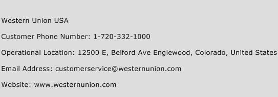 Western Union USA Phone Number Customer Service