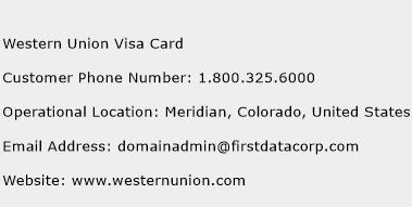 Western Union Visa Card Phone Number Customer Service