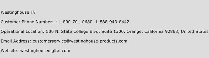 Westinghouse TV Phone Number Customer Service