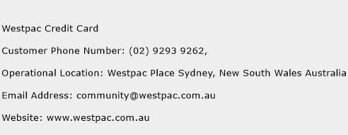 Westpac Credit Card Phone Number Customer Service