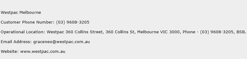 Westpac Melbourne Phone Number Customer Service