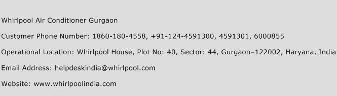 Whirlpool Air Conditioner Gurgaon Phone Number Customer Service