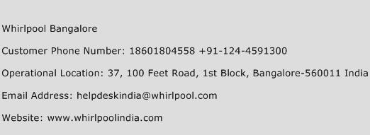 Whirlpool Bangalore Phone Number Customer Service
