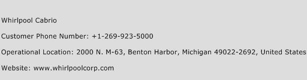 Whirlpool Cabrio Phone Number Customer Service