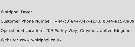 Whirlpool Dryer Phone Number Customer Service