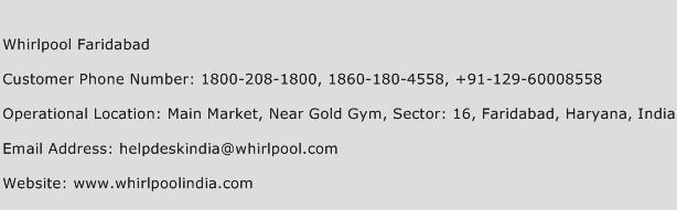Whirlpool Faridabad Phone Number Customer Service
