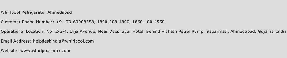 Whirlpool Refrigerator Ahmedabad Phone Number Customer Service