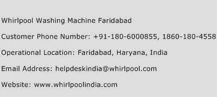 Whirlpool Washing Machine Faridabad Phone Number Customer Service