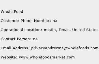 Whole Food Phone Number Customer Service
