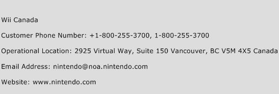 Wii Canada Phone Number Customer Service
