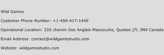 Wild Games Phone Number Customer Service