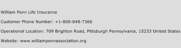 William Penn Life Insurance Phone Number Customer Service