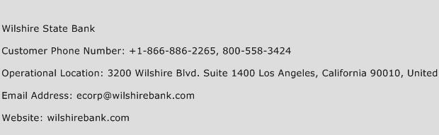 Wilshire State Bank Phone Number Customer Service