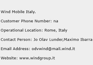Wind Mobile Italy. Phone Number Customer Service