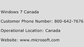 Windows 7 Canada Phone Number Customer Service