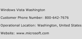 Windows Vista Washington Phone Number Customer Service