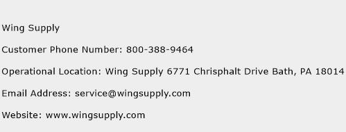 Wing Supply Phone Number Customer Service