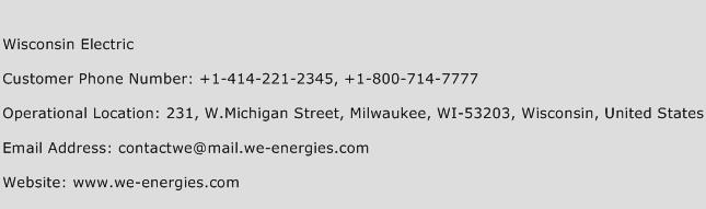 Wisconsin Electric Phone Number Customer Service