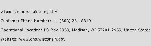 Wisconsin Nurse Aide Registry Phone Number Customer Service