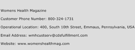 Womens Health Magazine Phone Number Customer Service