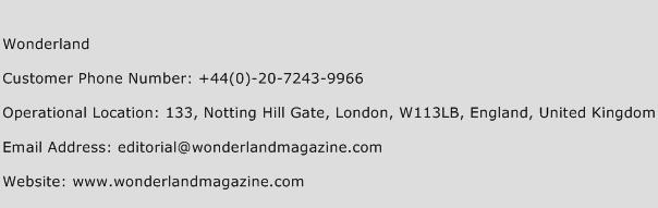 Wonderland Phone Number Customer Service