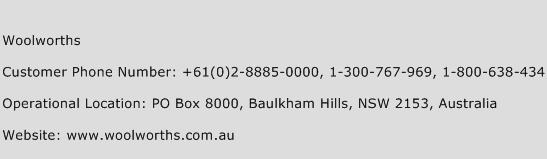 Woolworths Phone Number Customer Service