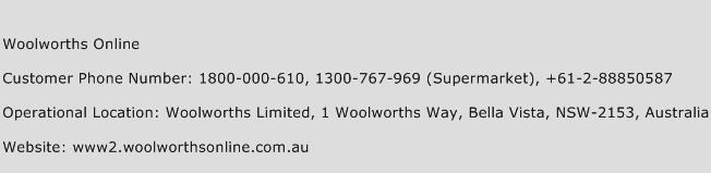 Woolworths Online Phone Number Customer Service