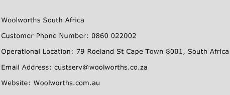 Woolworths South Africa Phone Number Customer Service