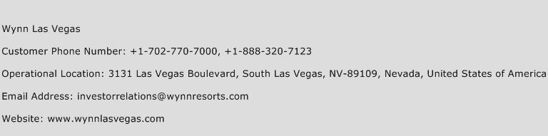 Wynn Las Vegas Phone Number