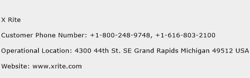 X Rite Phone Number Customer Service